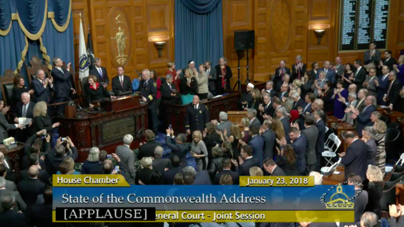 Massachusetts Acting Senate President Harriette Chandler introduces Gov. Charlie Baker.