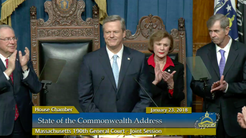 Massachusetts Gov. Charlie Baker begins his State of the Commonwealth address.