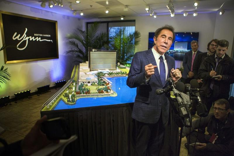 Casino mogul Steve Wynn speaks with the press about his casino project, formerly called Wynn Boston Harbor, in Everett, in a file photo.
