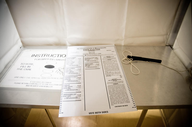 A photograph of a Massachusetts taken at a polling place in 2008.