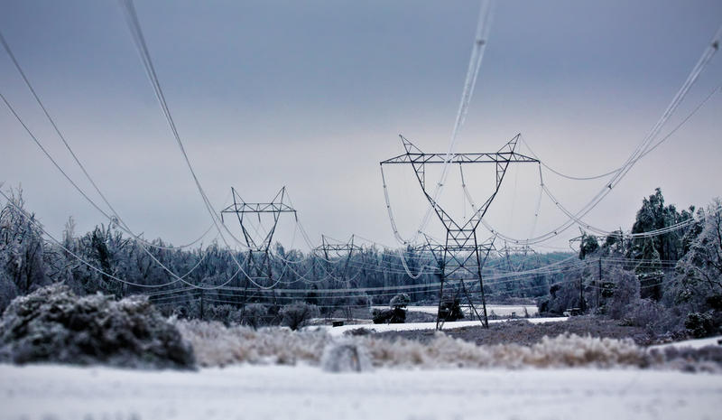 Icy power lines.