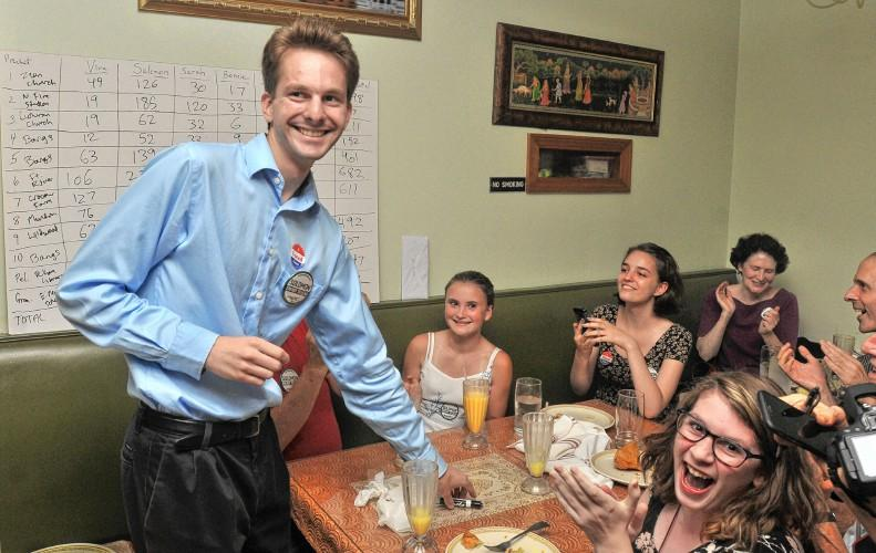 Solomon Goldstein-Rose celebrates with supporters after his win in the Democratic primary in September 2016.