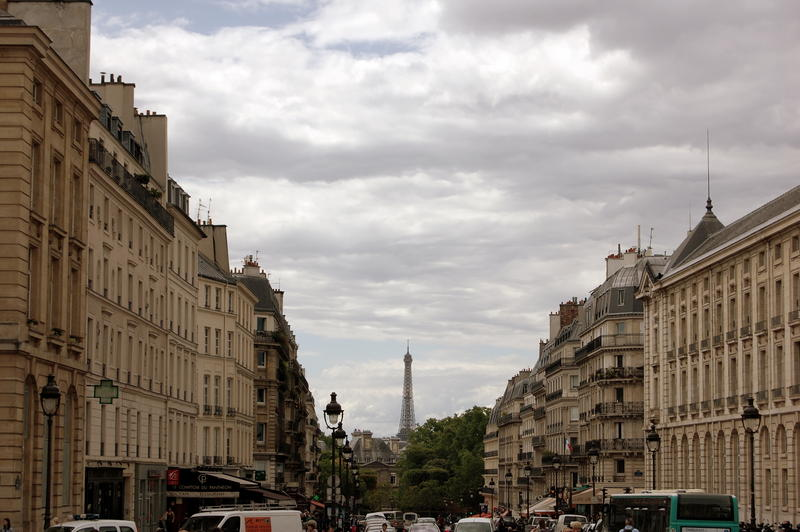 A view from Place du Pantheon to the Eiffel Tower, on Rue Soufflot.