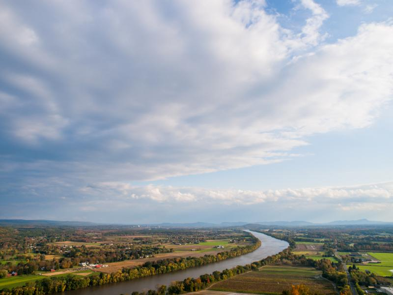 The Connecticut River valley photographed from Mount Sugarloaf State Reservation in Massachusetts.