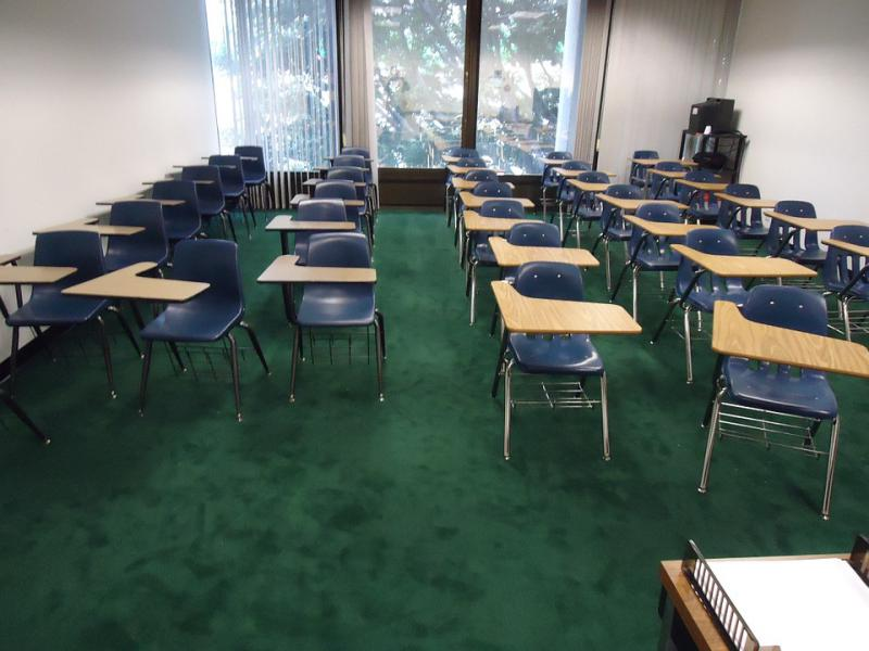 Empty classroom with chairs.