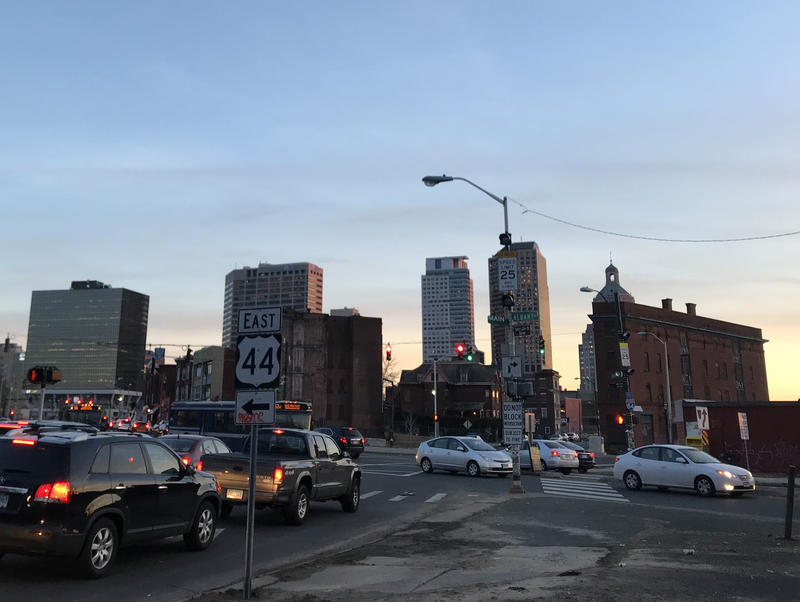 The downtown Hartford, Connecticut, skyline is seen from Main Street and Albany Avenue.