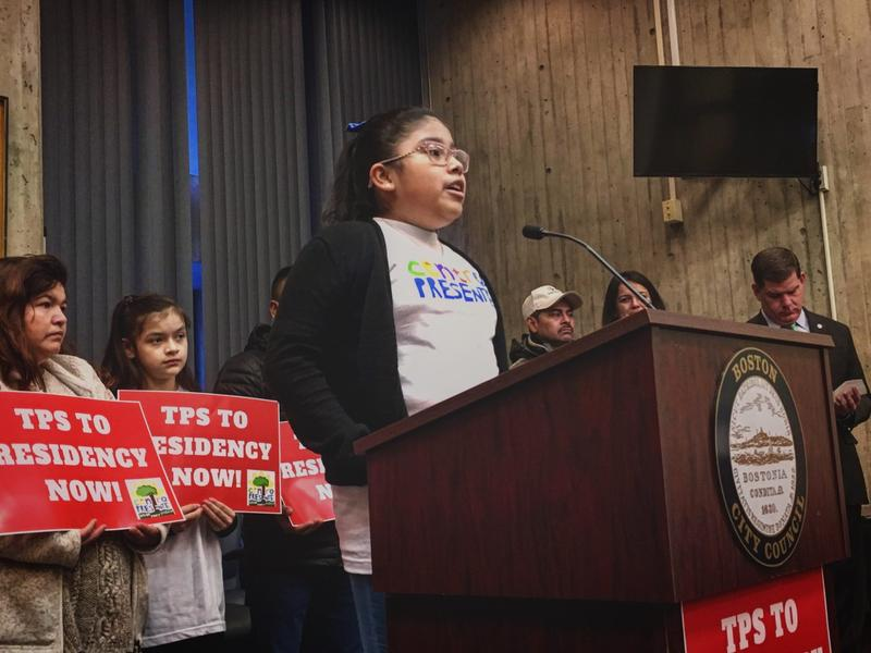 Gabriella Martinez, 10, is a U.S. citizen. Her mother is from El Salvador and is in the country with TPS. Martinez spoke at City Hall the day after the Trump administration announced the end of the temporary immigration program for El Salvador.