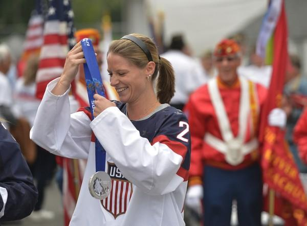 Kacey Bellamy, a three-time U.S. Olympian from Westfield, Mass. is part of a parade during the Eastern States Exposition.