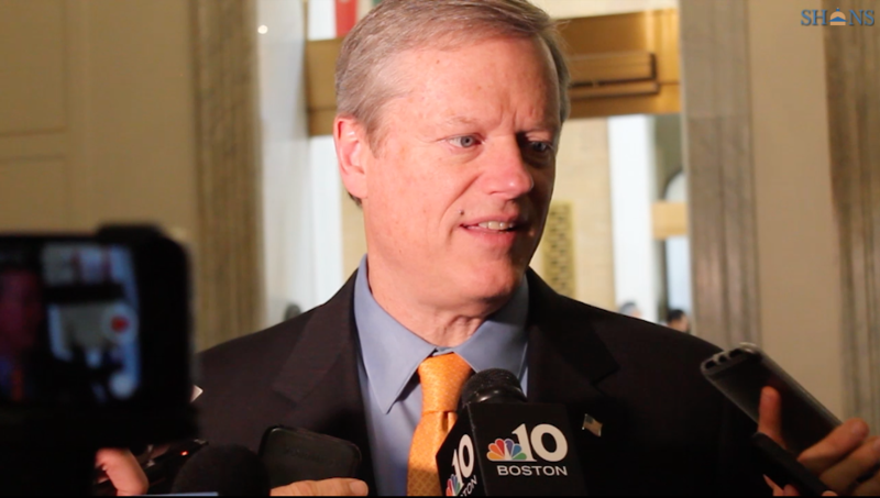 Massachusetts Governor Charlie Baker speaking to reporters on Monday, Feb. 5, 2018.