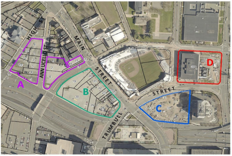 Areas of land the city of Hartford, Connecticut, is looking to develop around the minor league baseball stadium.