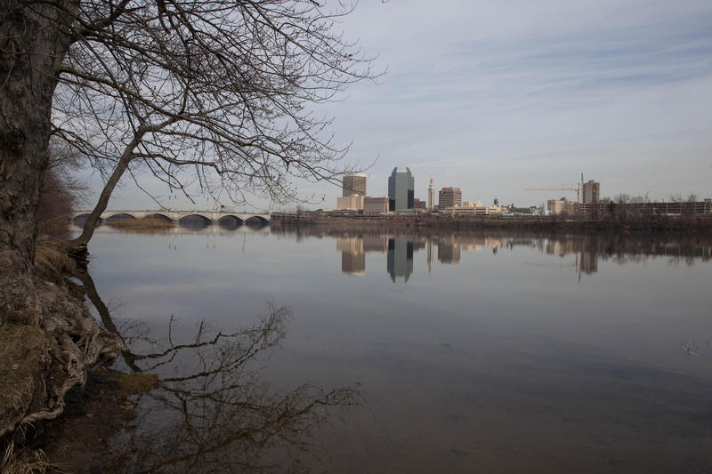 The Connecticut River at Springfield, Massachusetts, on April 3, 2017.