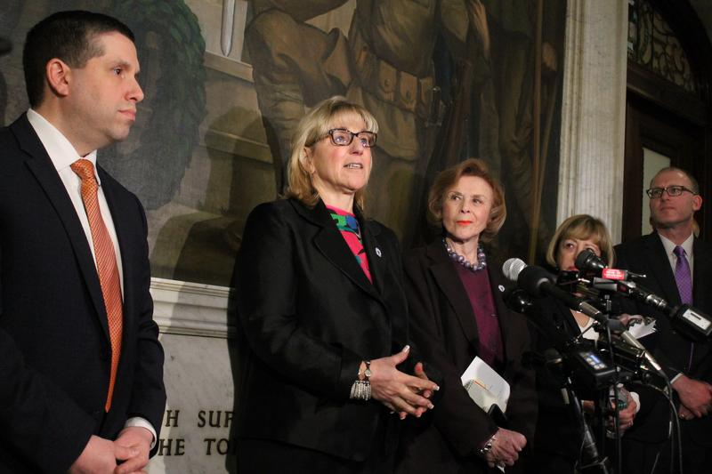 Massachusetts state Senator Karen Spilka, center, speaking on March 22, 2018.