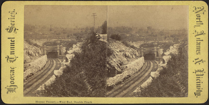 The west end of the Hoosac Tunnel as a stereograph, published between 1850-1920.