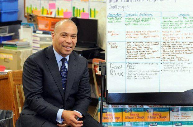 In 2014, then-Governor Deval Patrick meets with students at William N. DeBerry Elementary School in Springfield, Massachusetts.