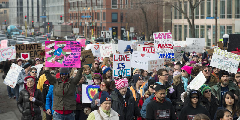 A march in support of migrants and refugees in Minnesota in 2017.