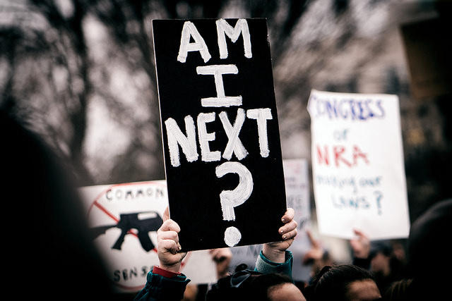 A sign held at a Washington, DC, demonstration organized by Teens For Gun Reform, in the wake of the February 14, 2018, shooting at Marjory Stoneman Douglas High School in Parkland, Florida.