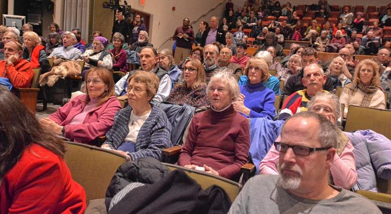 Amherst Town Meeting members conduct a voice vote during a meeting in early 2017.