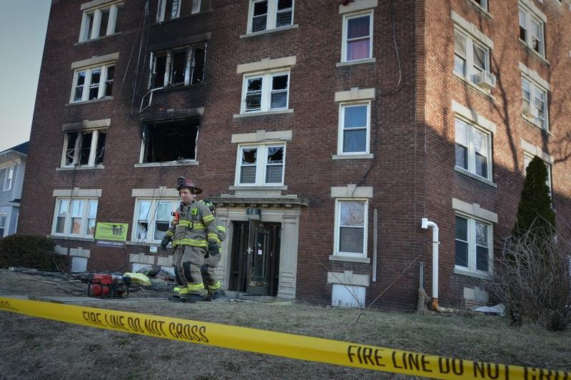 The scene on Monday, the day after a fatal fire at 49 Belmont Ave. in Springfield, Massachusetts.