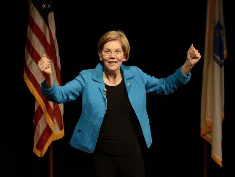 Massachusetts U.S. Senator Elizabeth Warren speaks from the stage during her open house at Springfield Technical Community College on March 9, 2018.