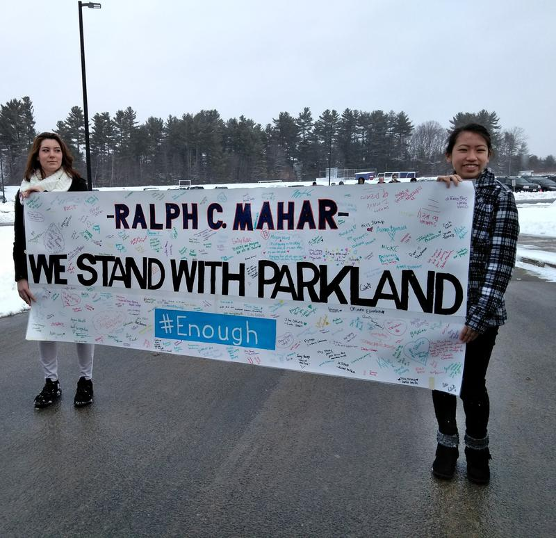 Students at the Ralph C. Mahar Regional School in Orange, Massachusetts, take place in a national walkout on March 14, 2018.