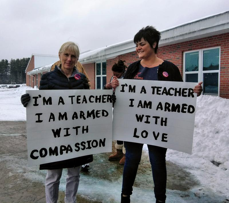 Teachers at the Ralph C. Mahar Regional School in Orange,  Massachusetts, who took part in the walkout.
