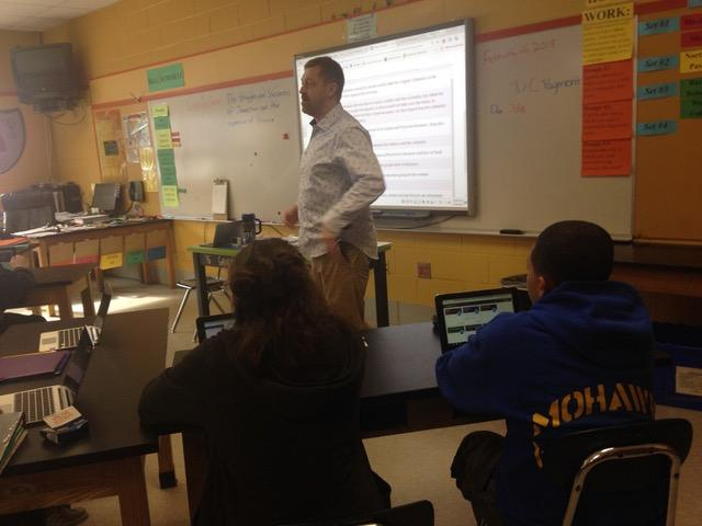 Michael Browning teaches an eighth grade social studies class at the Mohawk Trail Regional Middle School in Shelburne, Massachusetts.