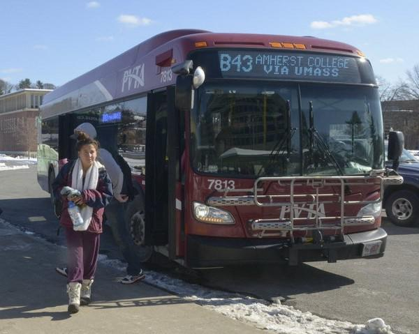 A Pioneer Valley Transit Authority bus makes a stop at the University of Massachusetts Amherst.