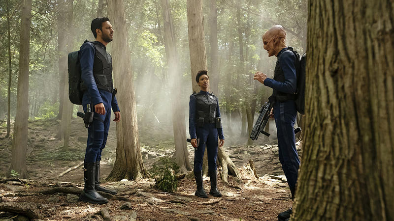 "In an episode of ""Star Trek: Discovery,"" from left, Lieutenant Ash Tyler (Shazad Latif), Michael Burnham (Sonequa Martin-Green), and First Officer Saru (Doug Jones)."