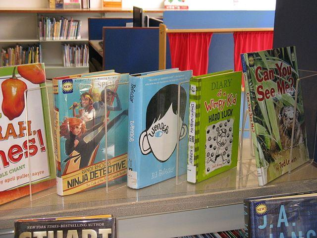 Children's books on display at a library.