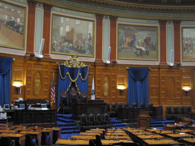 Inside the Massachusetts Statehouse.