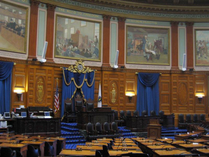 Inside the Massachusetts Statehouse.