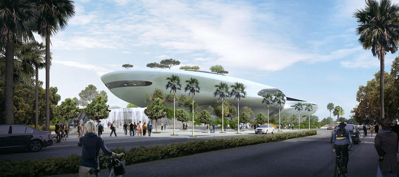 A rendering of the Lucas Museum of Narrative Art in Los Angeles, California.