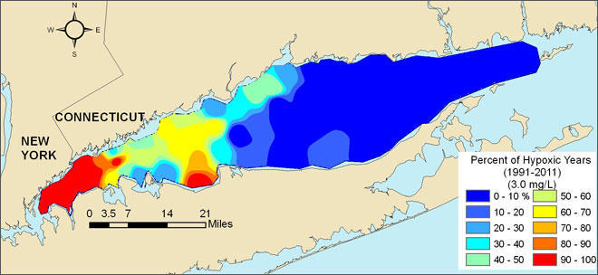 This map illustrates areas of the Long Island Sound that were most frequently affected by hypoxia between 1991-2011.