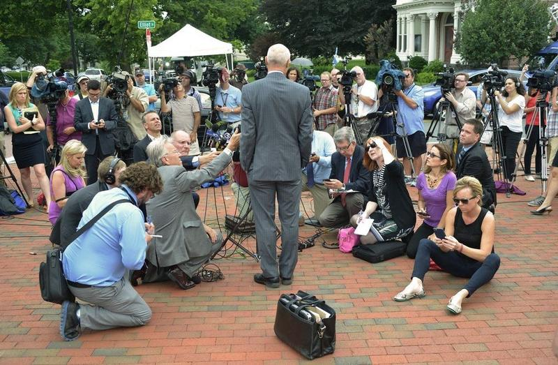 Northampton, Massachusetts, defense attorney David Hoose talks to the press Tuesday, outside the federal courthouse in Springfield after a detention hearing for his client Alexander Ciccolo.