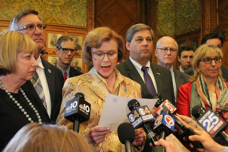 In a file photo, Senate President Harriette Chandler reads a statement accepting the findings of the ethics investigation into Sen. Stanley Rosenberg.