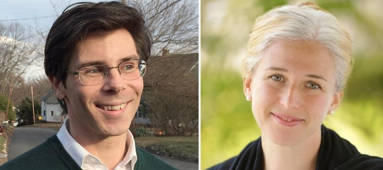 Ryan O'Donnell, left, and Chelsea Kline, right, and Steven Connor (unpictured) are all campaigning to replace Massachusetts state Senator Stan Rosenberg.