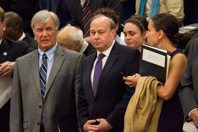 Massachusetts Sen. Stanley Rosenberg is at center.