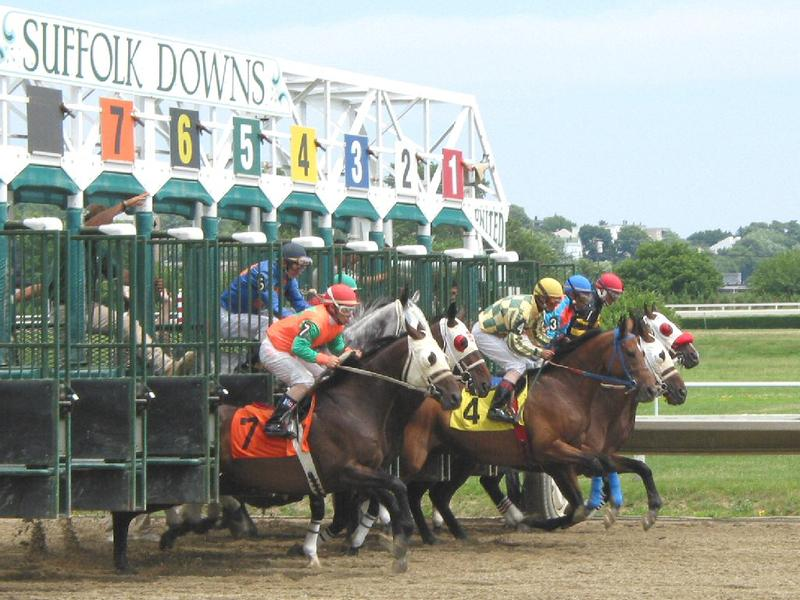 The starting gate at Suffolk Downs in East Boston, Massachusetts, in 2004.