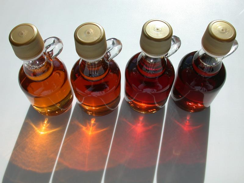 Various grades of maple syrup.