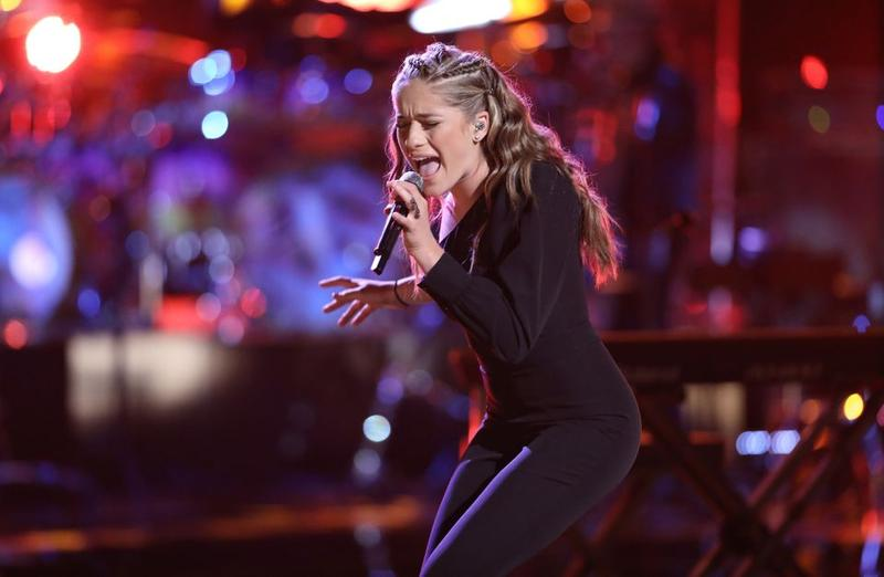 "Brynn Cartelli, 15, of Longmeadow, Massachusetts, takes part in the Live Playoffs on ""The Voice"" on April 16, 2018."