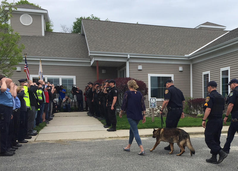 Ciro, a retired police dog, is led into the Pittsfield Veterinary Hospital for his last call.