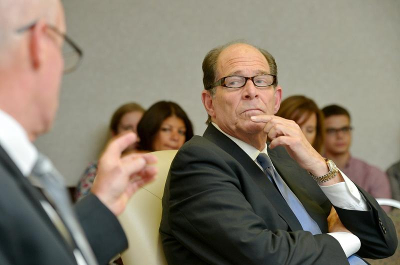 Westfield State University President Evan Dobelle is seen at a meeting with the school's Board of Trustees before his resignation in 2013.
