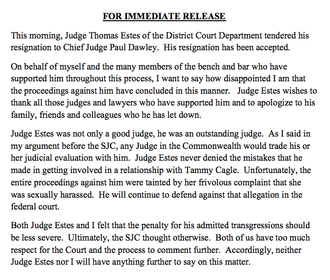 David Hoose, an attorney representing Judge Thomas Estes, issued a statement Friday, May 25, 2018.