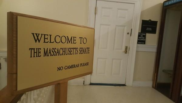 The entrance to the gallery for the Massachusetts Senate chamber.