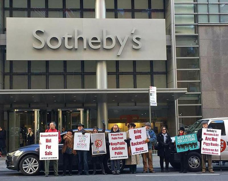 Members of Save the Art - Save the Musem protest in November 2017 at Sotheby's in New York City.