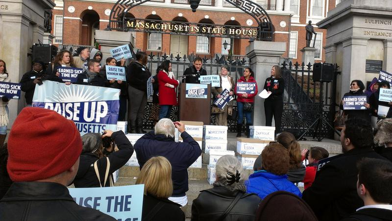 A minimum wage campaign rally in 2013 in front of the State House in Boston.