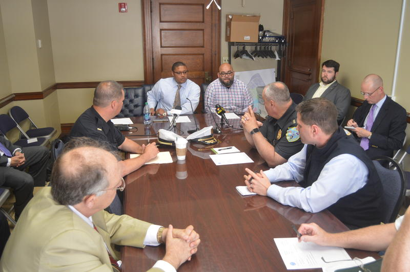 Springfield City Councilor Marcus Williams, left, leads a meeting of the council's Public Safety Committee on June 12, 2018.