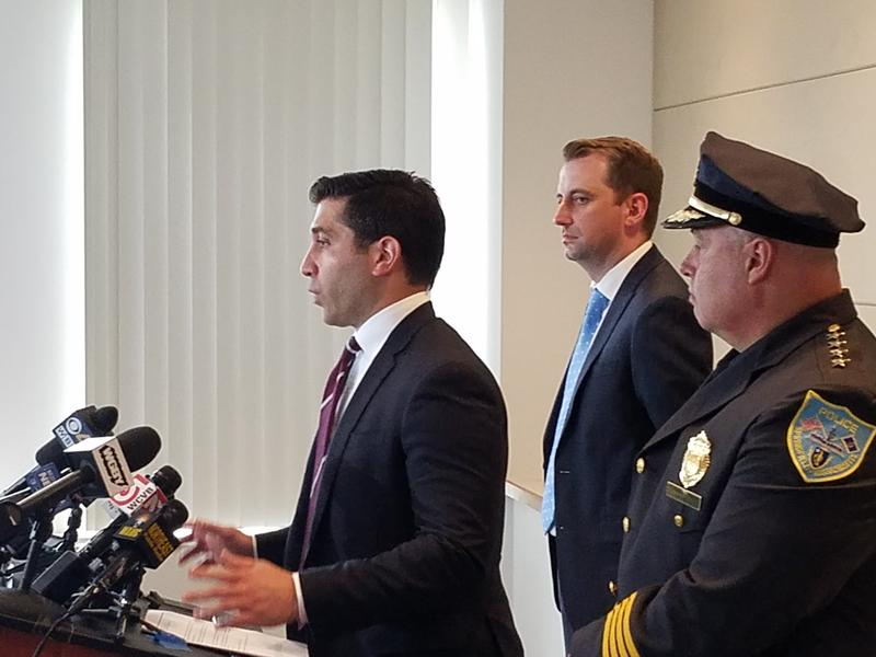 From left, Hampden District Attorney Anthony Gulluni, Assistant District Attorney Max Bennett, and Springfield Police Commissioner John Barbieri.