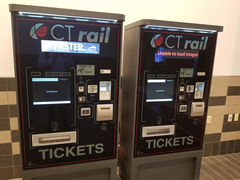 Ticket vending machines for CT Rail service to Hartford and New Haven at Union Station in Springfield.