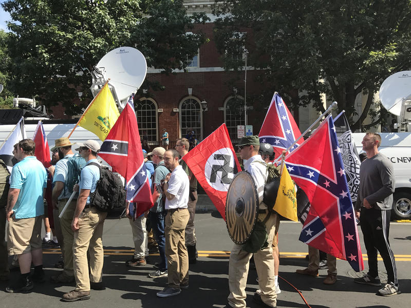 South Carolina passed a law to counter anti-Semitism on college campuses, following a violent white supremacist rally last year in Charlottesville. Pictured, rally participants prepare to enter Emancipation Park on August 12, 2017.